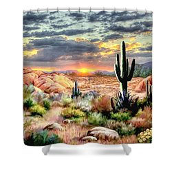 Twilight On The Desert Shower Curtain by Ron Chambers