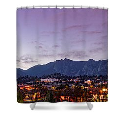 Twilight Panorama Of Estes Park, Stanley Hotel, Castle Mountain And Lumpy Ridge - Rocky Mountains  Shower Curtain