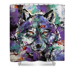 Twilight Purple Wolf Shower Curtain