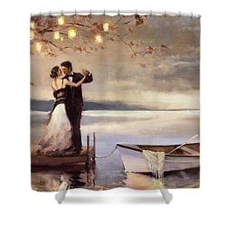 Shower Curtain featuring the painting Twilight Romance by Steve Henderson