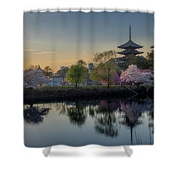Shower Curtain featuring the photograph Twilight Temple by Rikk Flohr