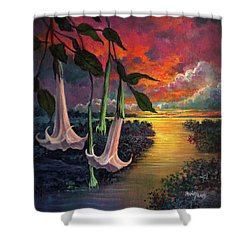 Twilight Trumpets Shower Curtain