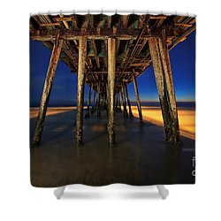 Twilight Under The Imperial Beach Pier San Diego California Shower Curtain by Sam Antonio Photography