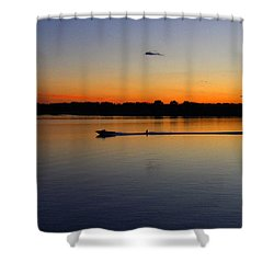 Shower Curtain featuring the photograph Twilight Water Skiing by Michael Rucker
