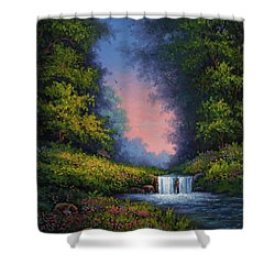 Shower Curtain featuring the painting Twilight Whisper by Kyle Wood