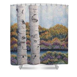 Twin Aspens Shower Curtain by Holly Carmichael
