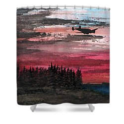 Twin Beech Late Shower Curtain by R Kyllo