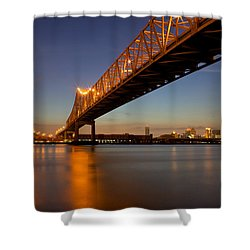 Shower Curtain featuring the photograph Twin Bridges by Evgeny Vasenev