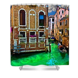 Twin Canals Shower Curtain by Harry Spitz