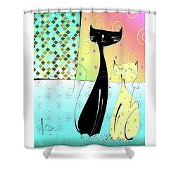 Shower Curtain featuring the mixed media Cattitude by Larry Talley