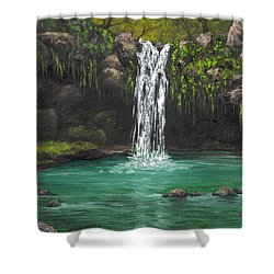 Shower Curtain featuring the painting Twin Falls 2 by Darice Machel McGuire