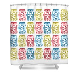 Twin Lens Camera Pattern Shower Curtain