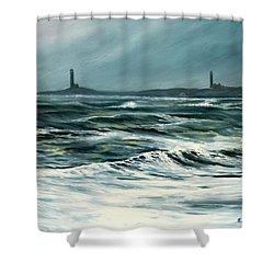 Twin Lights Rockport Ma Shower Curtain