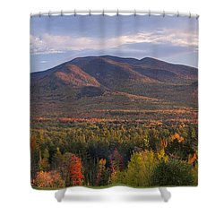 Twin Mountain Autumn Sunset Shower Curtain