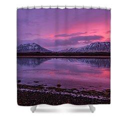 Twin Mountain Sunrise Shower Curtain