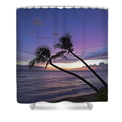 Twin Palms  Shower Curtain by James Roemmling