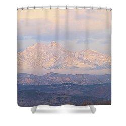 Twin Peaks Meeker And Longs Peak Panorama Color Image Shower Curtain