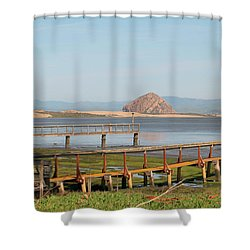 Shower Curtain featuring the photograph Twin Piers by Art Block Collections
