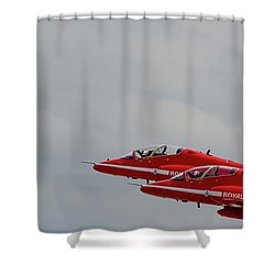 Twin Red Arrows Taking Off - Teesside Airshow 2016 Shower Curtain by Scott Lyons