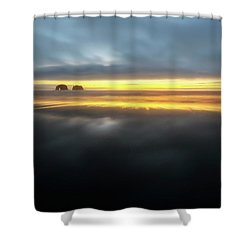 Twin Rocks Sunset Sliver Shower Curtain