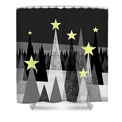Twinkle Night Shower Curtain by Val Arie
