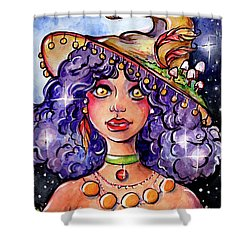 Twinkle Witch Shower Curtain by Nada Meeks