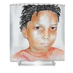 Twists, At 9 -- Portrait Of African-american Boy Shower Curtain