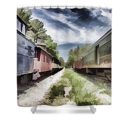 Twixt The Trains Shower Curtain by Roberta Byram
