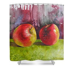 Shower Curtain featuring the painting Two Apples by Elena Oleniuc