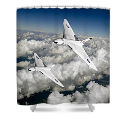 Two Avro Vulcan B1 Nuclear Bombers Shower Curtain by Gary Eason
