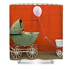 Two Baby Buggies  Shower Curtain by Garry Gay