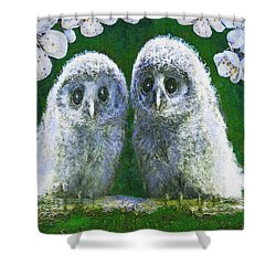 Two Baby Owls Shower Curtain by Jane Schnetlage