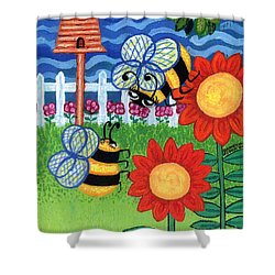 Two Bees With Red Flowers Shower Curtain