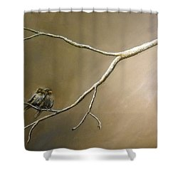Two Birds On A Branch Shower Curtain
