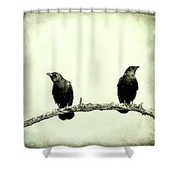 Two Birds One Branch Texture Square Shower Curtain