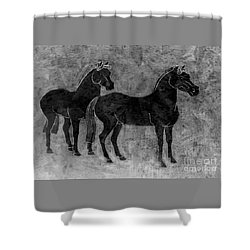 Two Black Chinese Horses Shower Curtain by Nareeta Martin