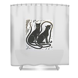 Two Black Felines Shower Curtain