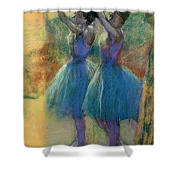 Two Blue Dancers Shower Curtain by Edgar Degas