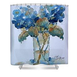 Two Blue Hydrangea Shower Curtain