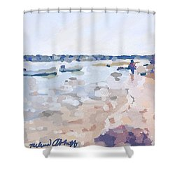 Two Boats At Ten Pound Island Beach Shower Curtain