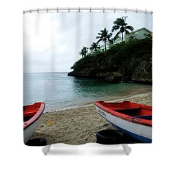 Shower Curtain featuring the photograph Two Boats, Island Of Curacao by Kurt Van Wagner