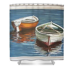 Shower Curtain featuring the painting Two Boats by Natalia Tejera