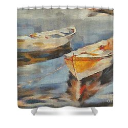 Shower Curtain featuring the painting Two Boats On A Mooring by Dragica  Micki Fortuna
