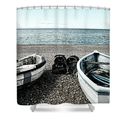 Two Boats On Seaford Beach Shower Curtain