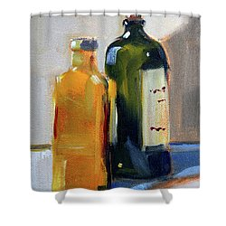 Shower Curtain featuring the painting Two Bottles by Nancy Merkle
