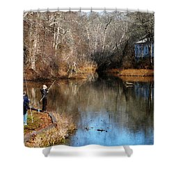 Two Boys Fishing Shower Curtain by Susan Savad