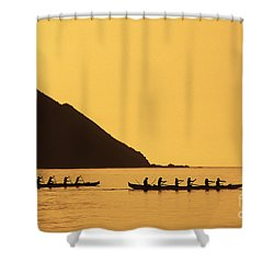 Two Canoes Silhouetted Shower Curtain by Dana Edmunds - Printscapes
