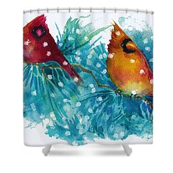 Two Cardinals Shower Curtain by Peggy Wilson