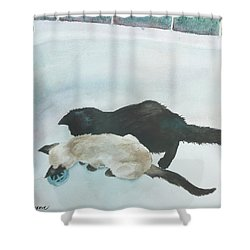 Two Cats In A Tub Shower Curtain