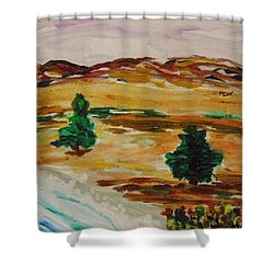 Two Cedars By The Sea Shower Curtain